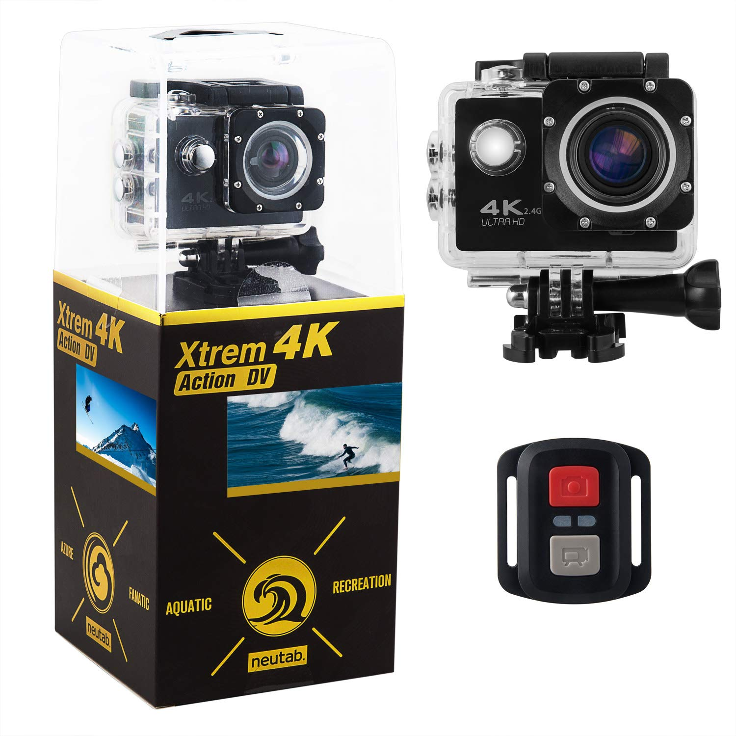 NeuTab Xtrem 4K Action Camera, Dual 2 Inch LCD Screen 16 MP Sony Image Sensor 170 Wide-Angle Lens Sports Camera 100 FT Waterproof Case Included in Accessories Kit (Limited time Offer)