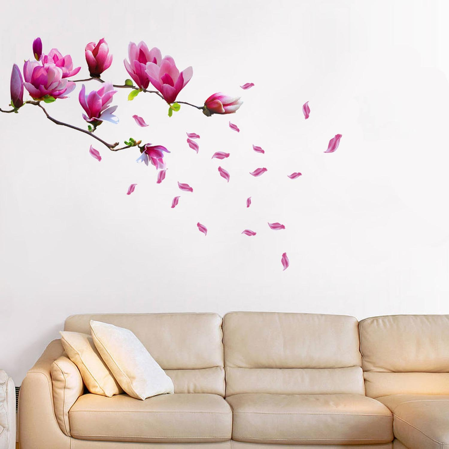 Walplus wall stickers giant magnolia flowers removable self walplus wall stickers giant magnolia flowers removable self adhesive mural art decals vinyl home decoration diy living bedroom office dcor wallpaper kids amipublicfo Gallery