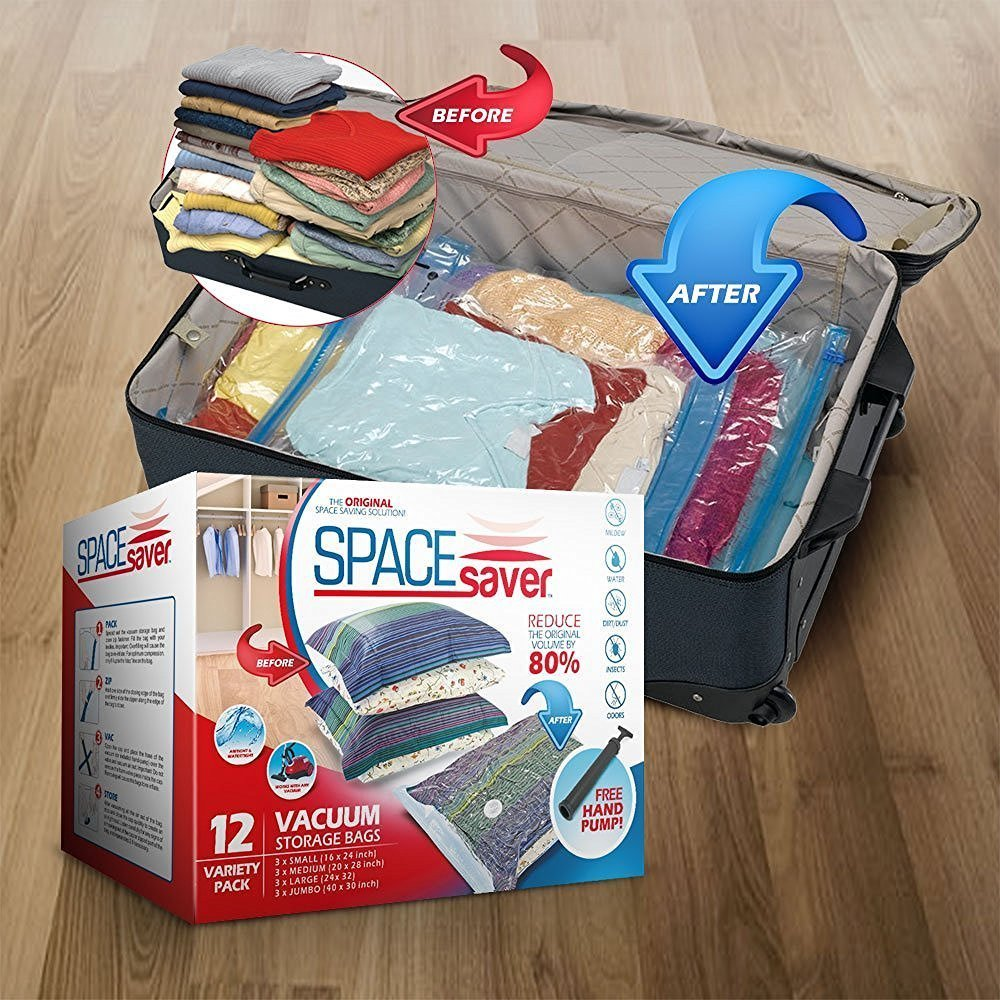 SpaceSaver Sacchetti premium salvaspazio sottovuoto 80/% dello spazio in pi/ù rispetto alle altre marche 3 x S, M, L e XL confezione mista Gratis una pompetta manuale per i viaggi!