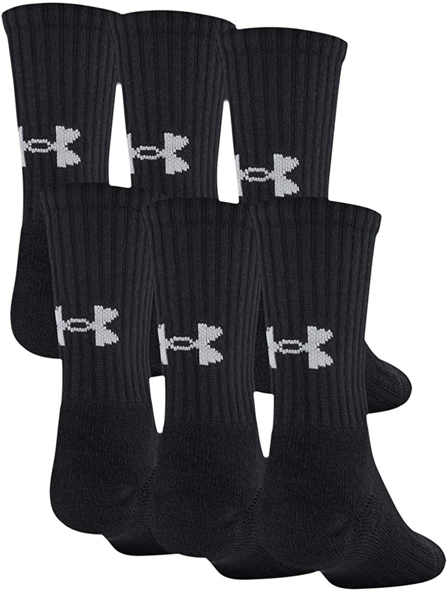 Under Armour Youth Training Cotton Crew Socks, 6-Pairs, Black 2, Shoe Size: Youth 13.5K-4Y: Clothing
