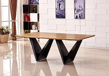 FurnitureboxUK Grande Elvira Moderne Chic Rustique Métal Et Bois Table De  Salle à Manger 8 10