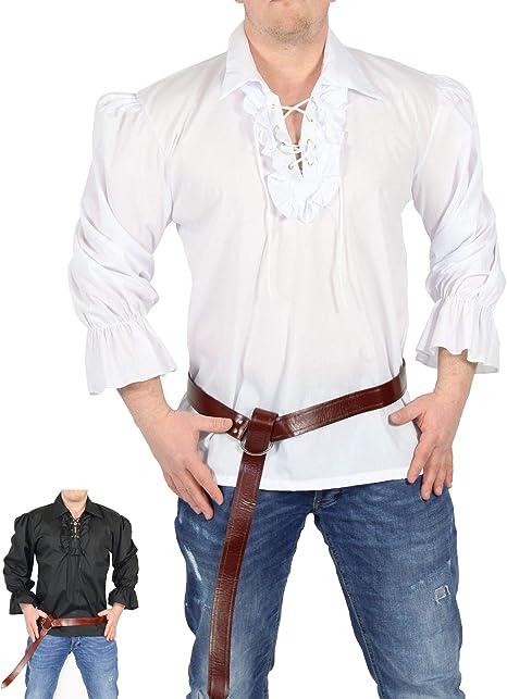 FOXXEO Camisa Pirata Hombre Camisa Blanca Camisa Blanca Camisa Medieval Carnaval, Talla: M: Amazon.es: Juguetes y juegos