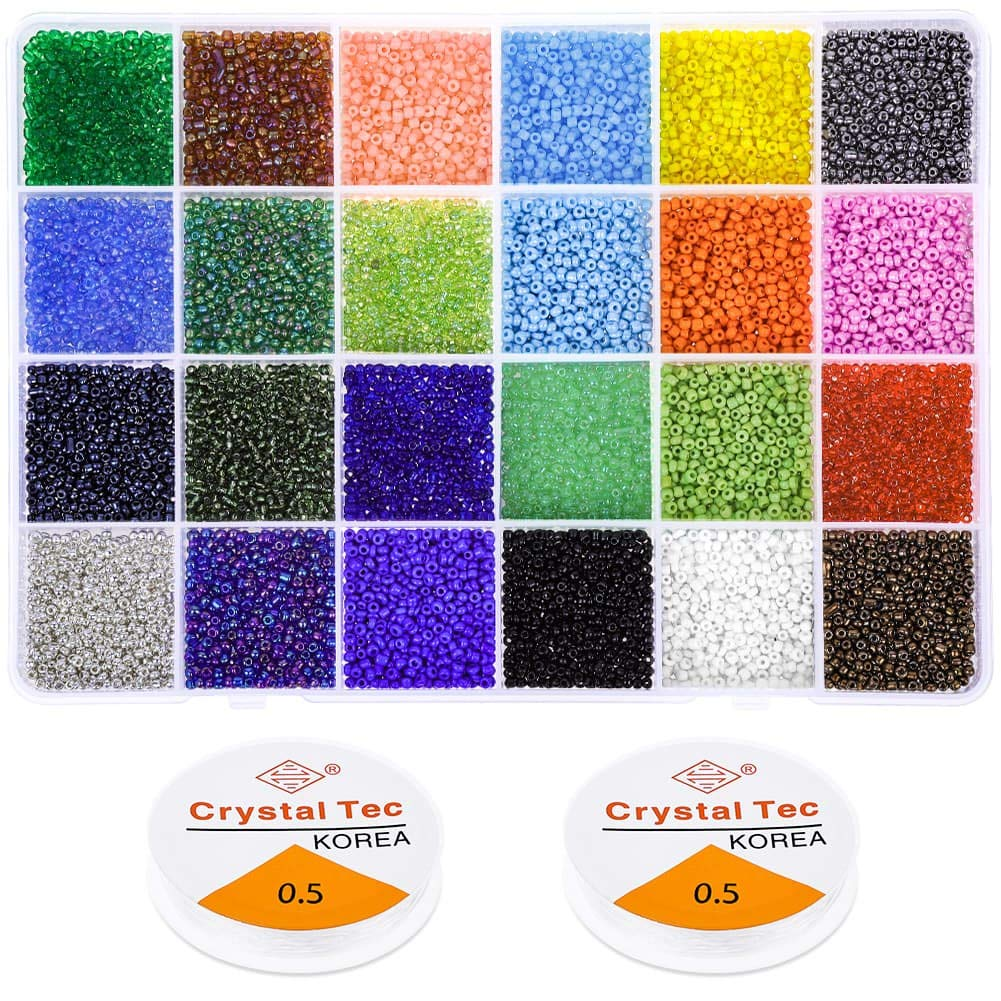 Beads for Bracelets, Anezus 14400 Pcs Pony Seed Beads Bracelet Beads Small Glass Rainbow Beads for Jewelry Making by anezus
