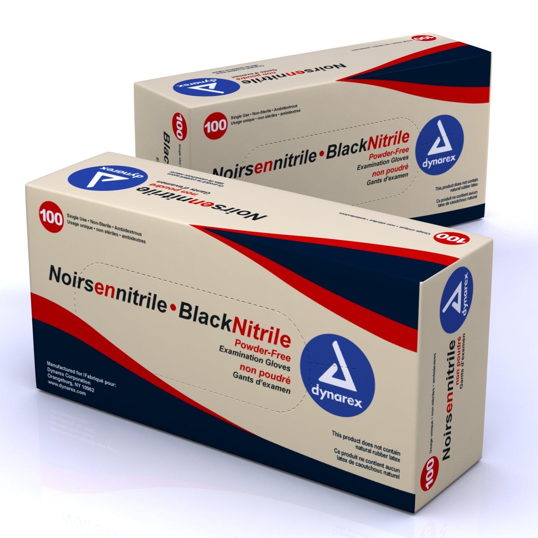 Dynarex Nitrile Exam Gloves, Black, Large, 100 Count (Pack of 10)