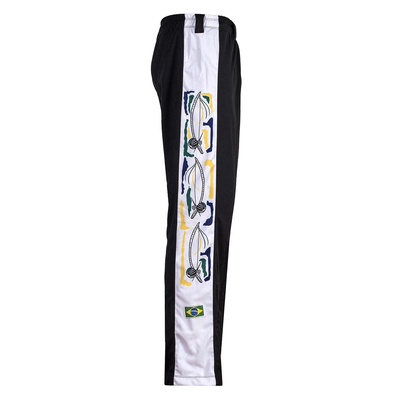 JL Sport Originale Brasiliano Capoeira Arti Marziali Pantaloni Berimbau in Bianco Lungo Gamba Unisex Nero con Tradizionale