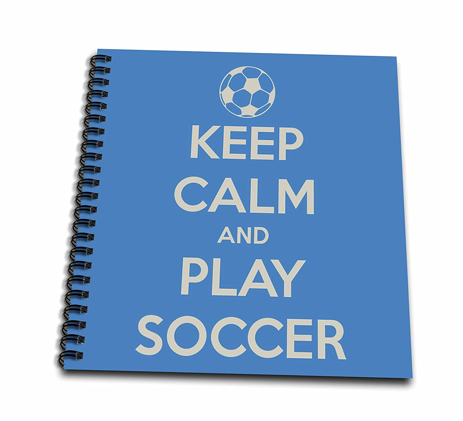 3dRose db/_159643/_1 Keep Clam and Play Soccer Blue Soccer Lovers Drawing Book 8 by 8-Inch