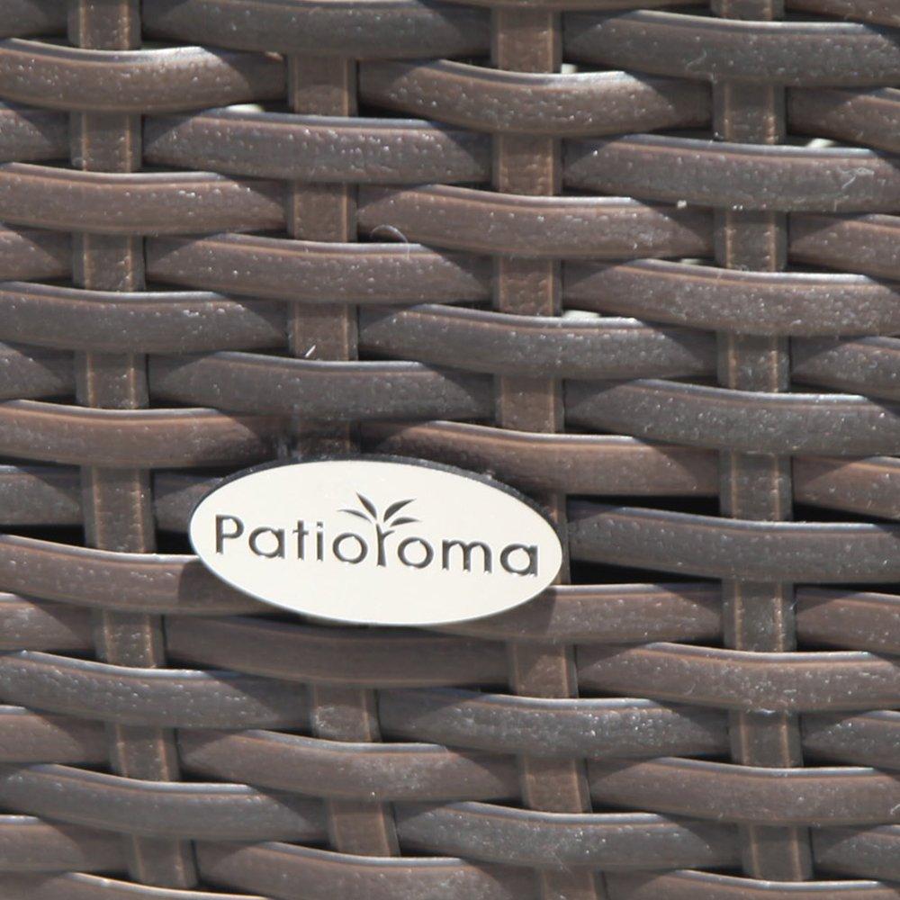 Espresso Brown Patiorama Outdoor Storage Box Patio Aluminum Frame Wicker Cushion Storage Bin Deck Box