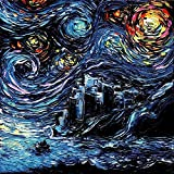 Game of Thrones Inspired art PRINT - Starry Night - van Gogh Never Saw Dragonstone - Art by Aja 8x8, 10x10, 12x12, 20x20, 24x24 inch sizes