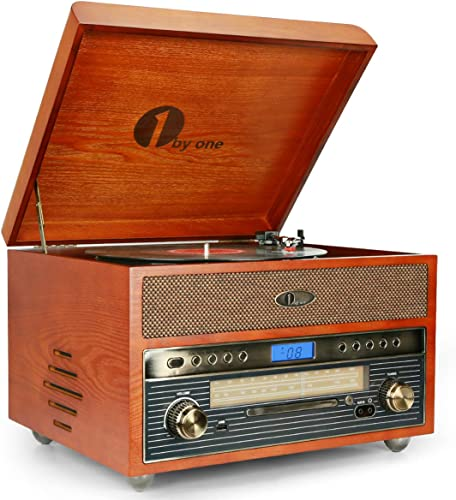 1byone Nostalgic Wooden Turntable Combo