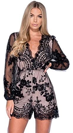 c441cef5b1 Momo Ayat Fashions Ladies Sequin Wrap Front Full Sleeve Playsuit UK Size  8-14 (UK