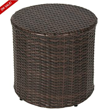 Amazon.com : Outdoor Wicker Ottoman Small Patio Furniture Round Footrest  Coffee Table Stool Seat Espesso Brown Modern Rest Hassock Lawn And Garden  Backyard ...