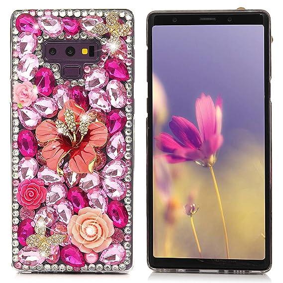 Mavis's Diary Compatible Samsung Galaxy Note 9 Case, Full Edge 3D Handmade  Luxury Bling Crytal Fashion Design Shiny Gem Pearl Rhinestone Diamond Clear