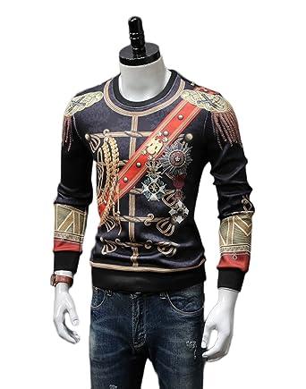 Herren Sweatshirt Musterpullover Pullover Print Vintage Langarm Rundhals  Pullover  Amazon.de  Bekleidung c58c10151f