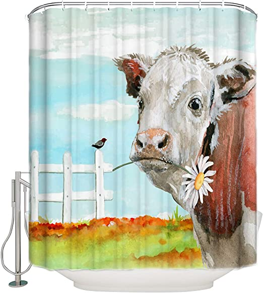 Farm Watercolor Dairy Cow Shower Curtain Liner Bathroom Polyester Fabric Hooks