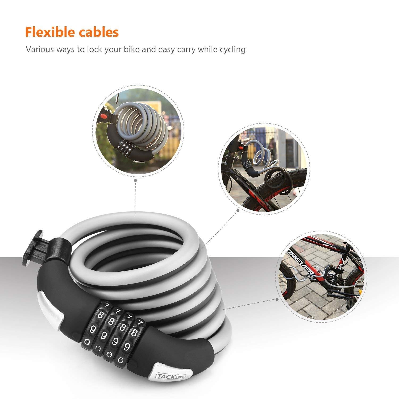 6-Feet Heavy Duty Bike lock Cable Self Coiling Resettable Combination Bike Lock