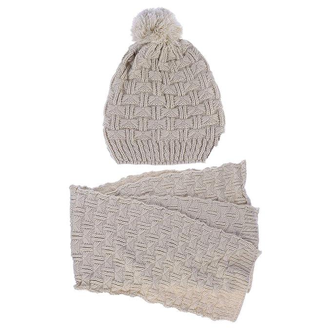 d942e150b63 LEORX - Femme - Ensemble d hiver en tricot écharpe et bonnet  Amazon ...