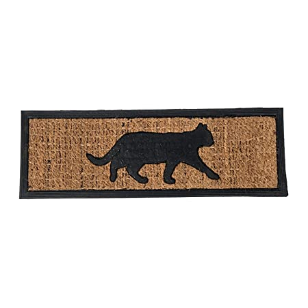 Large, Thick, Decorative, Patterned Coir Door Mats With Nature Designs  (Cats) Black Ginger