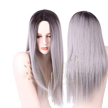 Gris Rojo Rosa Ombre Negra peluca pelucas sintéticas para mujeres larga recta errónea pelo