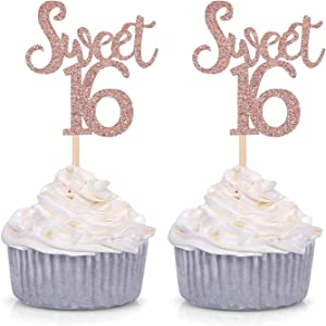 Giuffi Rose Gold Glitter Sweet 16 Cupcake Toppers Sixteenth / 16th Birthday Party Decorations - Set of 24