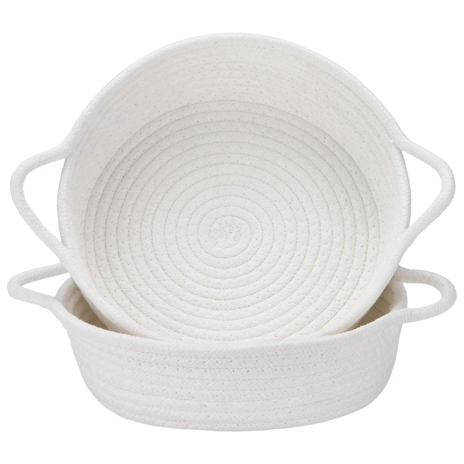 Sea Team 2-Pack Cotton Rope Baskets, 10 x 3 Inches Small Woven Storage Basket, Fabric Tray, Bowl, Round Open Dish for Fruits, Jewelry, Keys, Sewing Kits (White)