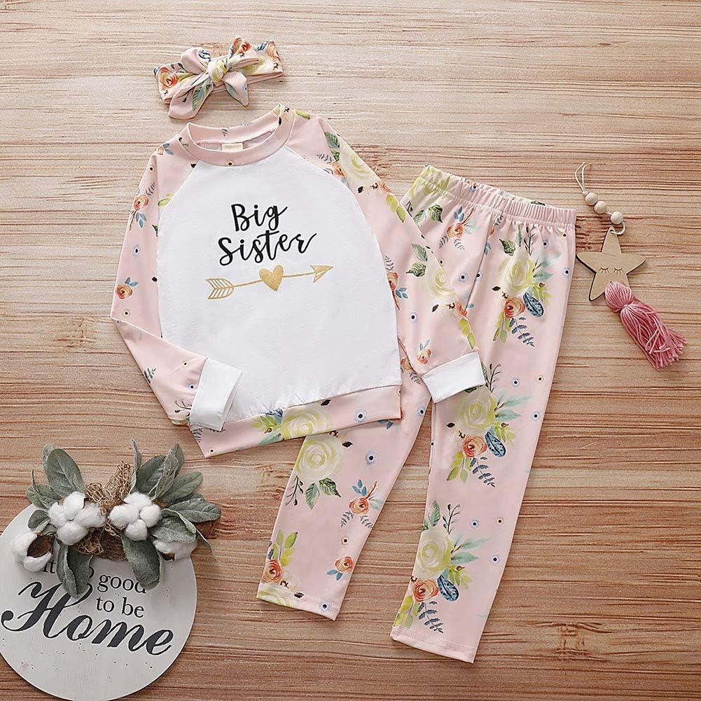 BOBORA Little Sister Big Sister Matching Clothes Set Romper Pants Set and Shirt Pants Set 0-7Years