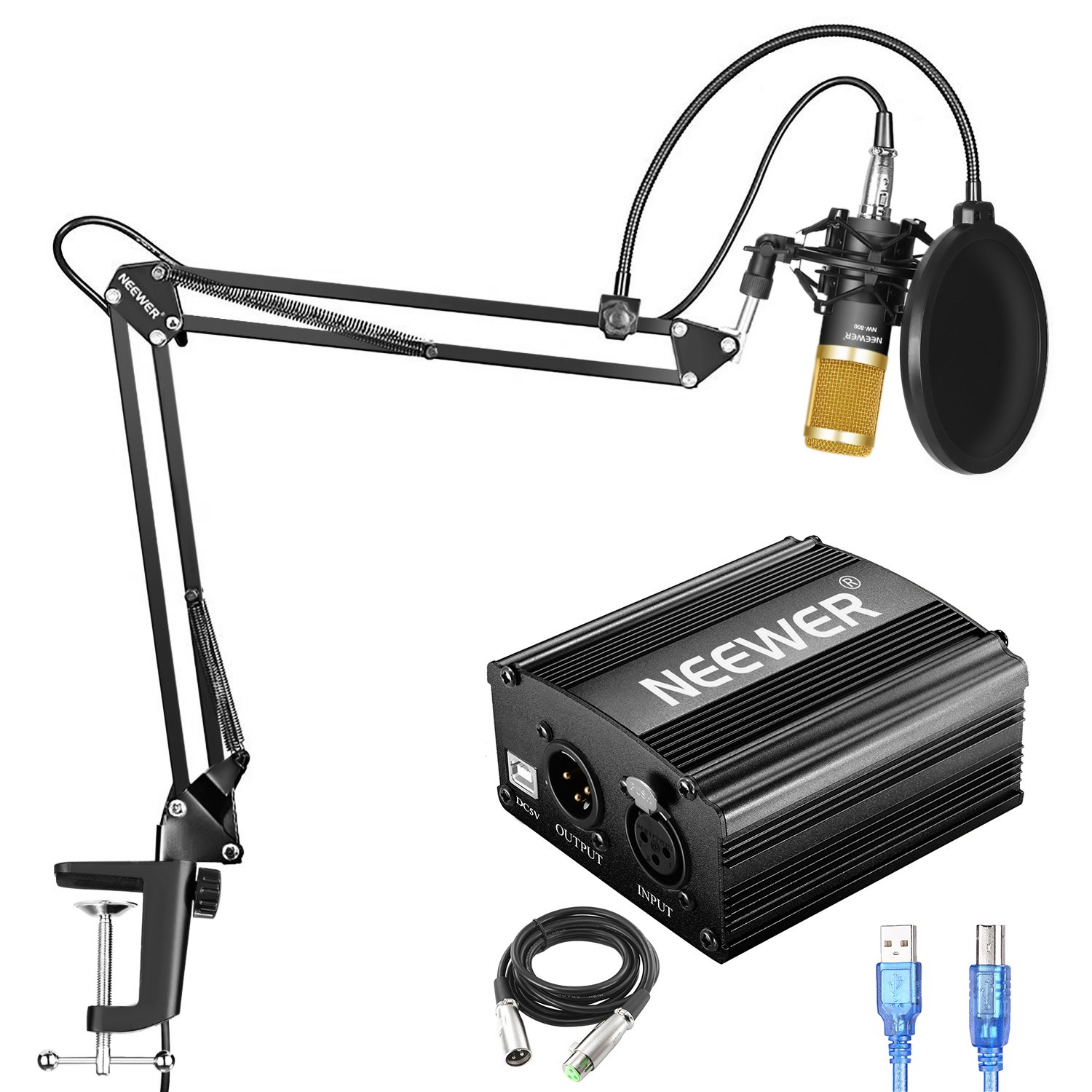 Neewer NW-800 Condenser Microphone Kit with USB 48V Phantom Power Supply, NW-35 Suspension Arm Stand, Shock Mount, Pop Filter for Home Studio Recording Broadcast YouTube Live Periscope(Black and Gold)