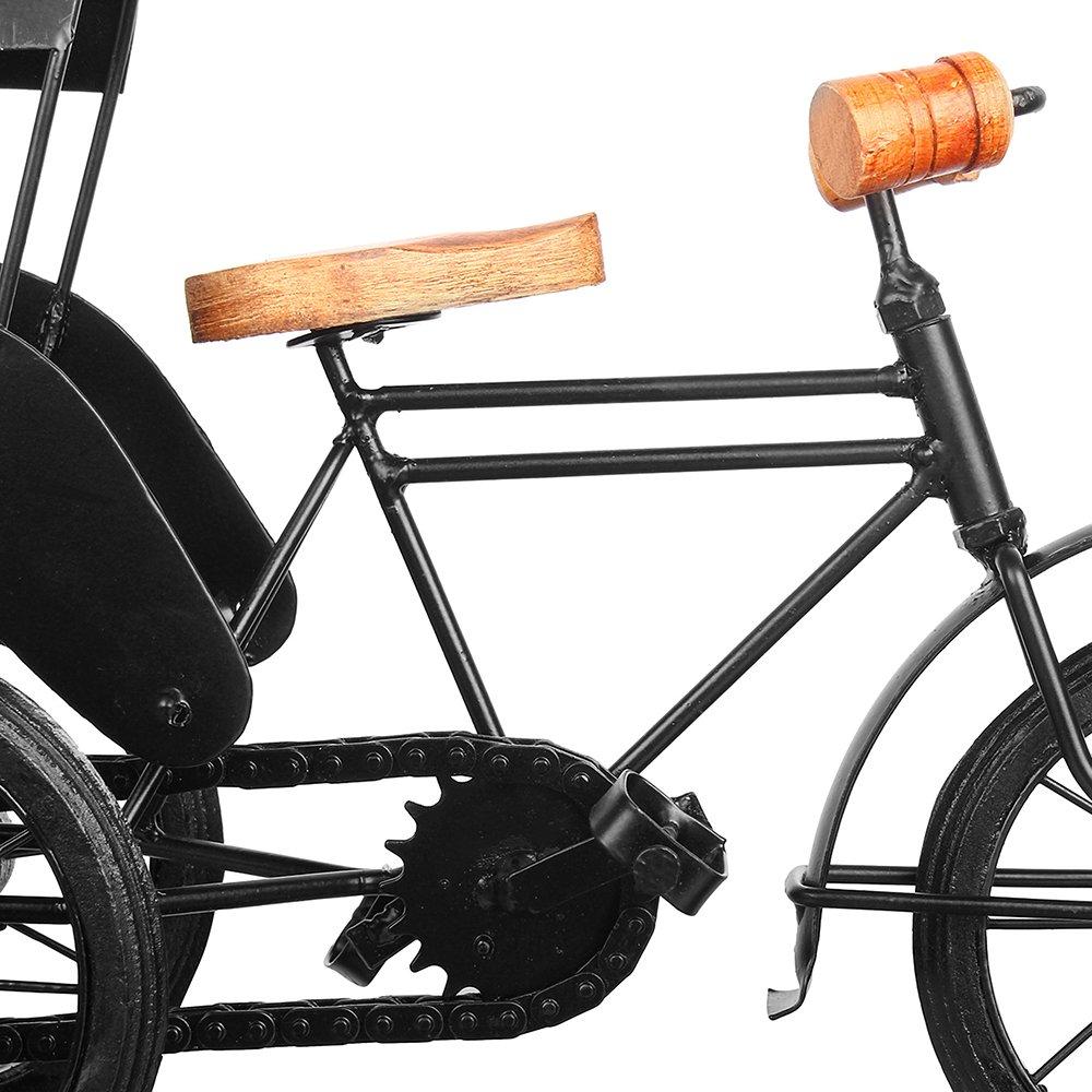 13''x9'' Iron Wooden Rickshaw, Decorative Metal 3 Wheeler Home Office, Artistic Miniature Tricycle Desks, Creative Gift Birthday, Anniversary, Christmas, Thanksgiving by Trumiri (Image #3)