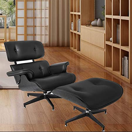 Mophorn Lounge Chair with Ottoman Mid Century Modern Replica Style Recliner Chair High Grade All Black PU Leather Recliner Armchair with Foot Stool Footrest Living Room Furniture Set All Black
