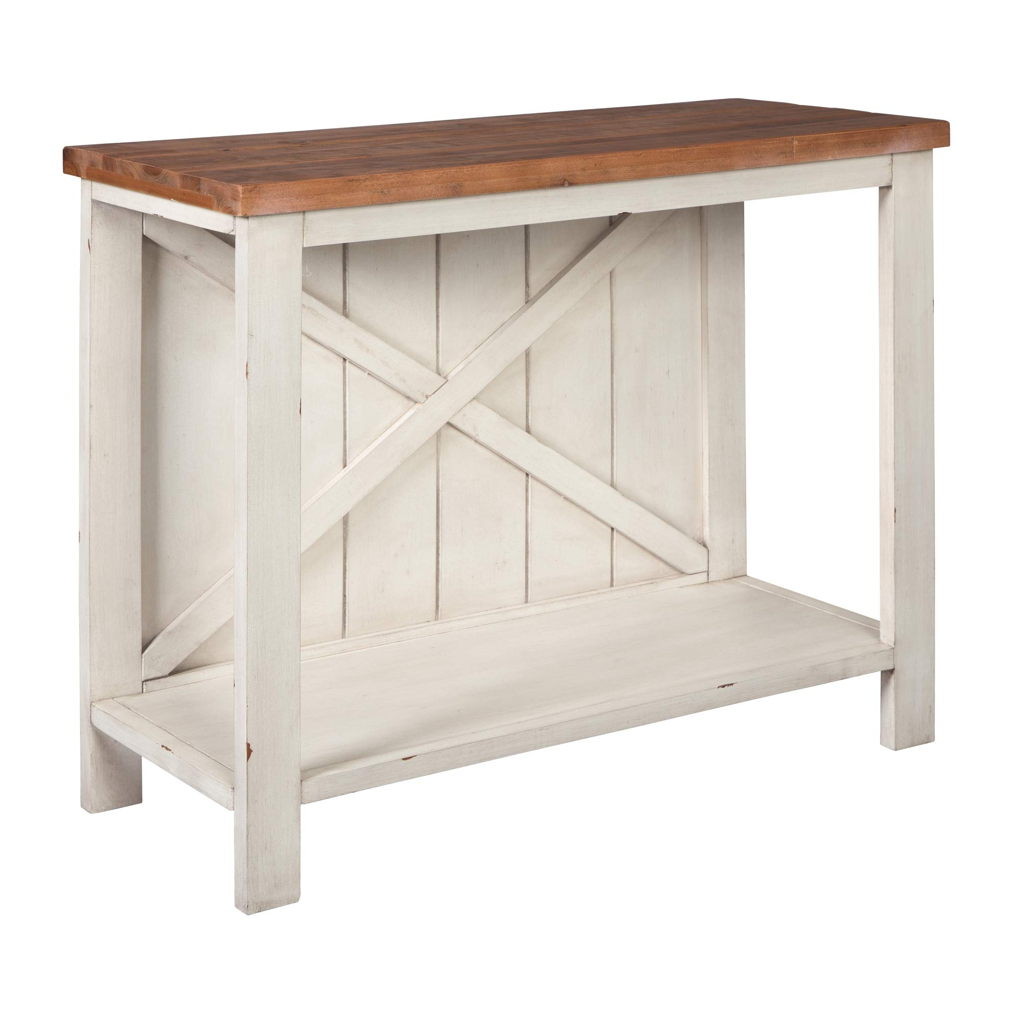 Ashley Furniture Signature Design - Abramsland Console Sofa Table - Casual - White/Brown by Signature Design by Ashley