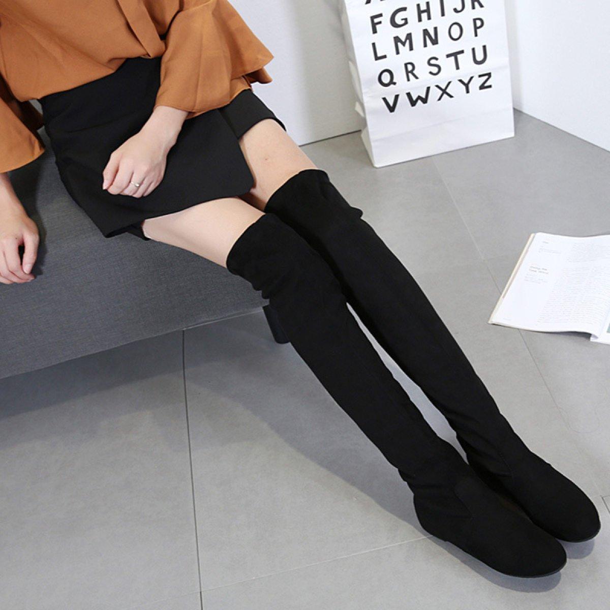 Frauen Stiefel Knie Stiefel Damen Damen Stiefel Umwelt Faux Wildleder Stiefel über Die Knie Stretch Block Mid Chunky Ferse Stiefel schwarz 31771a