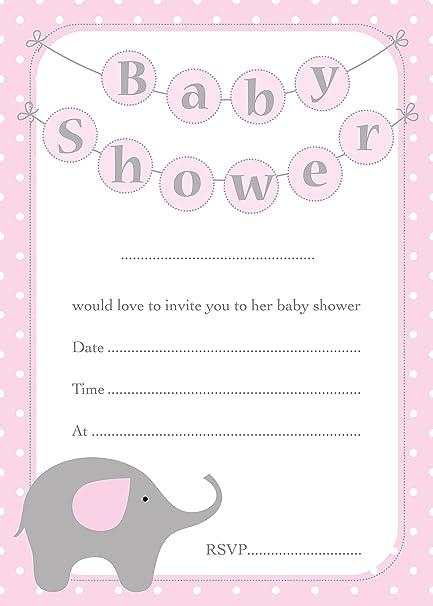 Baby Shower Invitaciones Lindo Diseno Del Elefante Tarjetas De 16