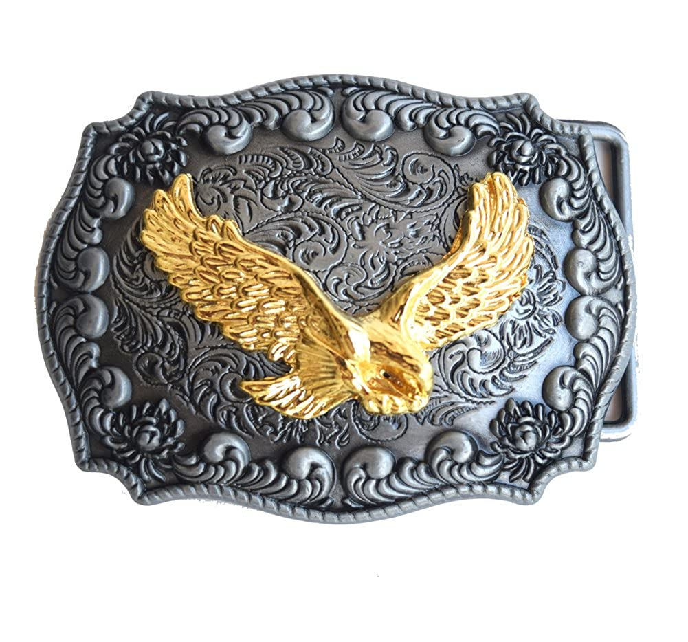 Golden Eagle Belt Buckle Handmade Rectangle Frame Western Belt Buckle Pancy B