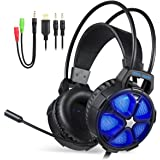 EasySMX Cuffie Gaming per Xbox One PS4, Multi-Platform Bassi Profondi Over Ear Confortevole Cuffia con Microfono Isolamento Rumore di Controllo del Volume LED per PC, Mac, Laptop
