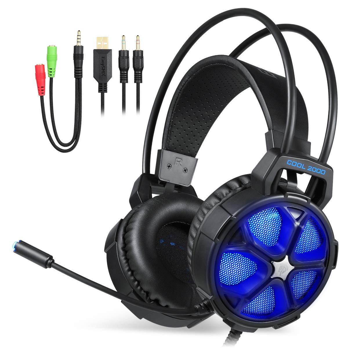EasySMX Gaming Headset for PS4, PC, Xbox One Slim, Cool 2000 Over Ear Stereo Gaming Headphone with Noise Cancelling Mic, Multi LED Light for Computer Laptop Nintendo Switch.