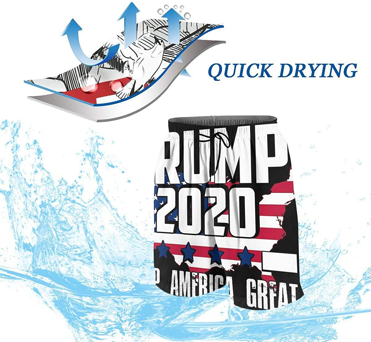 DKF Trump 2020 Boys Beach Pants Funny Swim Trunks,Swimwear Beach Holiday Party for Boys Men