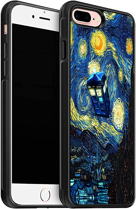 Starry Night and Doctor Who Tardis Police Box Soft TPU Cover Case for iPhone 8 Plus Case/Designed for iPhone 7 Plus Case - Black