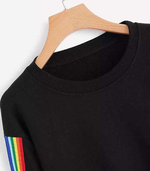 Harajuku Sweatshirt Hoodies Women Rainbow Striped Streetwear Kpop Crop Top Hoodie Korean Style Woman Clothes at Amazon Womens Clothing store: