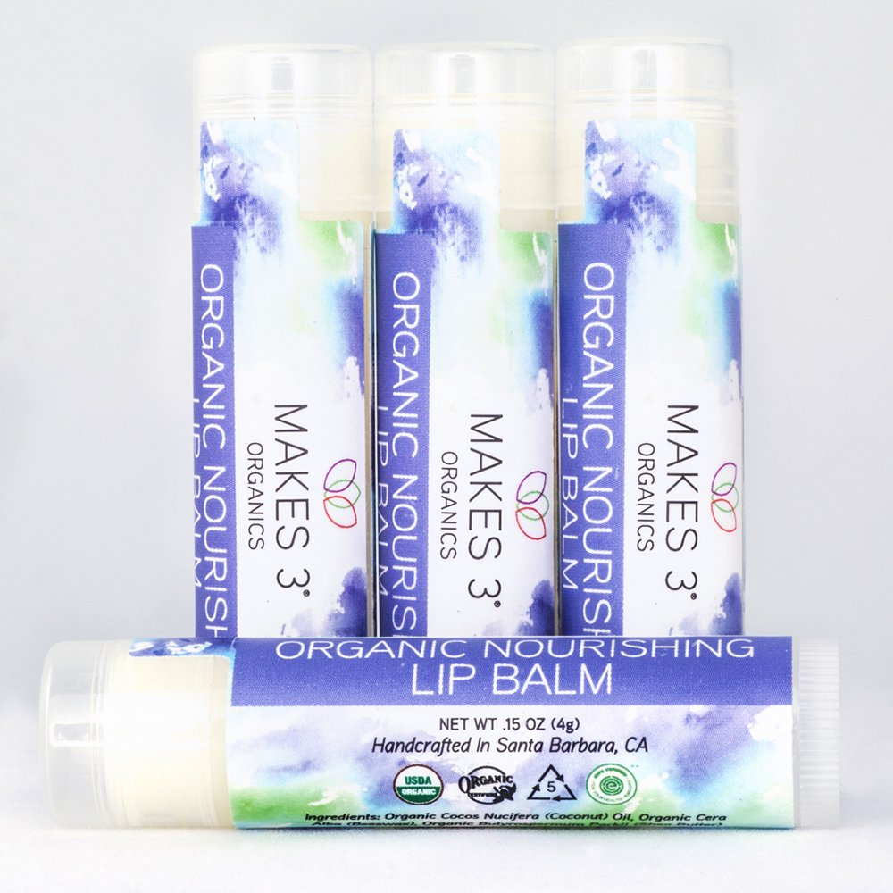 Lip Balm - Organic Natural USDA Certified 100% - Accelerates Healing - Unscented Moisturizing Balm Stick - Prevent Dry Cracked Lips - Hand-Crafted in Santa Barbara, California - 4 Pack Never Run Out