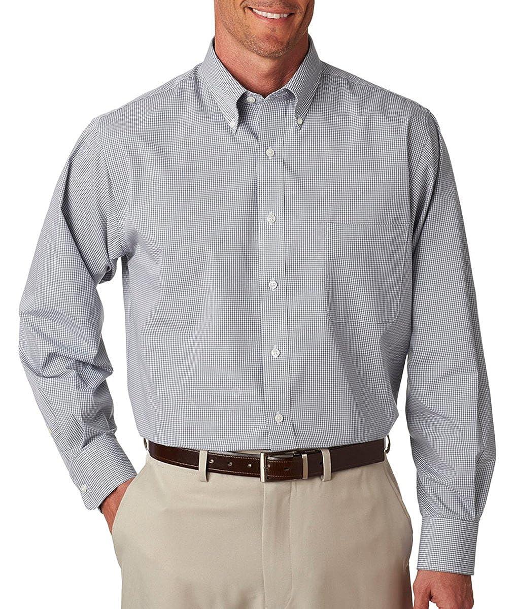Van Heusen Mens Dress Shirts Regular Fit Gingham Button Down Collar 13V0225