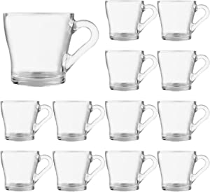 Glass Mugs,Coffee Mugs Set 7oz,Clear Drinking Mugs With Handle,Water Mugs Drinking Glasses Clear Cups With Handle,Glass Cup Tea Cup Drinkware Glass Latte Cups Cappuccino Mugs 12 Pack…