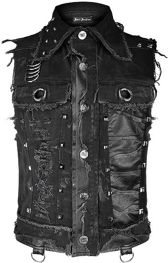 Devil Fashion Hombre Gótico Punk Chaleco Top Negro Dieselpunk con Tachuelas Destruido Distópico Motero Camisa sin Mangas Cortado Apocalíptico Grunge: Amazon.es: Ropa y accesorios