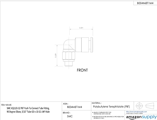 Smc Kq2l03-34As Male Elbow,90 Deg,5//32 In.,Tubexmnpt