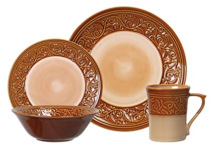 Signature Living Reactive 16 Pc Dinnerware Set Caramel Color  sc 1 st  Amazon.com & Amazon.com | Signature Living Reactive 16 Pc Dinnerware Set Caramel ...