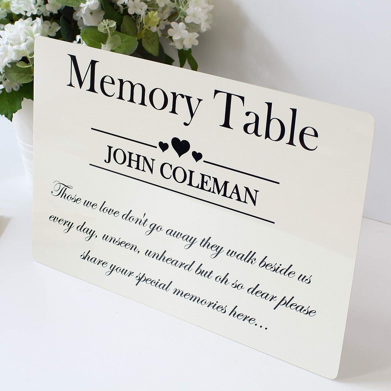 Memorial Table sign Condolence bereavment Funeral