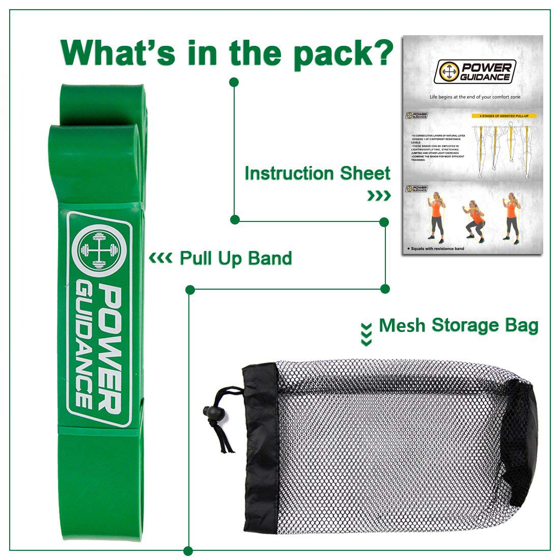 POWER GUIDANCE Pull Up Assist Bands - Stretch Resistance Band - Mobility Band - Powerlifting Bands - by Perfect for Body Stretching, Powerlifting, Resistance Training - Single Unit- Green by POWER GUIDANCE (Image #3)