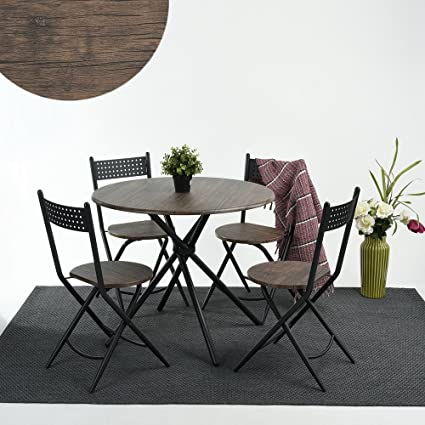 HOMY CASA Dining Set 5 PC Retro Kitchen Table with 4 Folding Chairs Table Top & Amazon.com: HOMY CASA Dining Set 5 PC Retro Kitchen Table with 4 ...