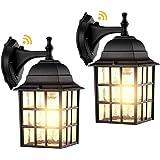 2-Pack Dusk to Dawn Outdoor Wall Lights, Sensor Exterior Light Fixtures Wall Mount, Porch Lights, Matte Black Wall Lantern Wa