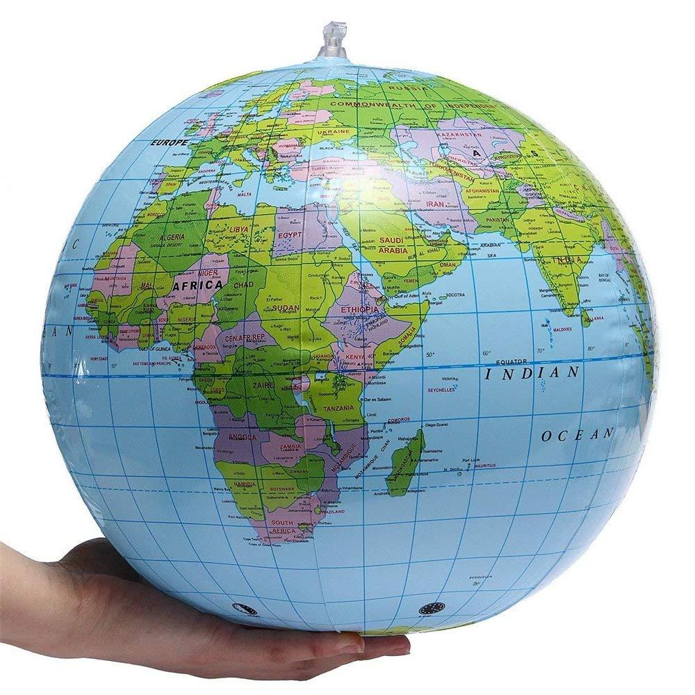 Maybesky Mappamondo Gonfiabile Mondo Globo Terra Mappa Geografia Insegnante Aiuto Giocattolo Palla Regalo 40 cm / 16' Globo Girevole