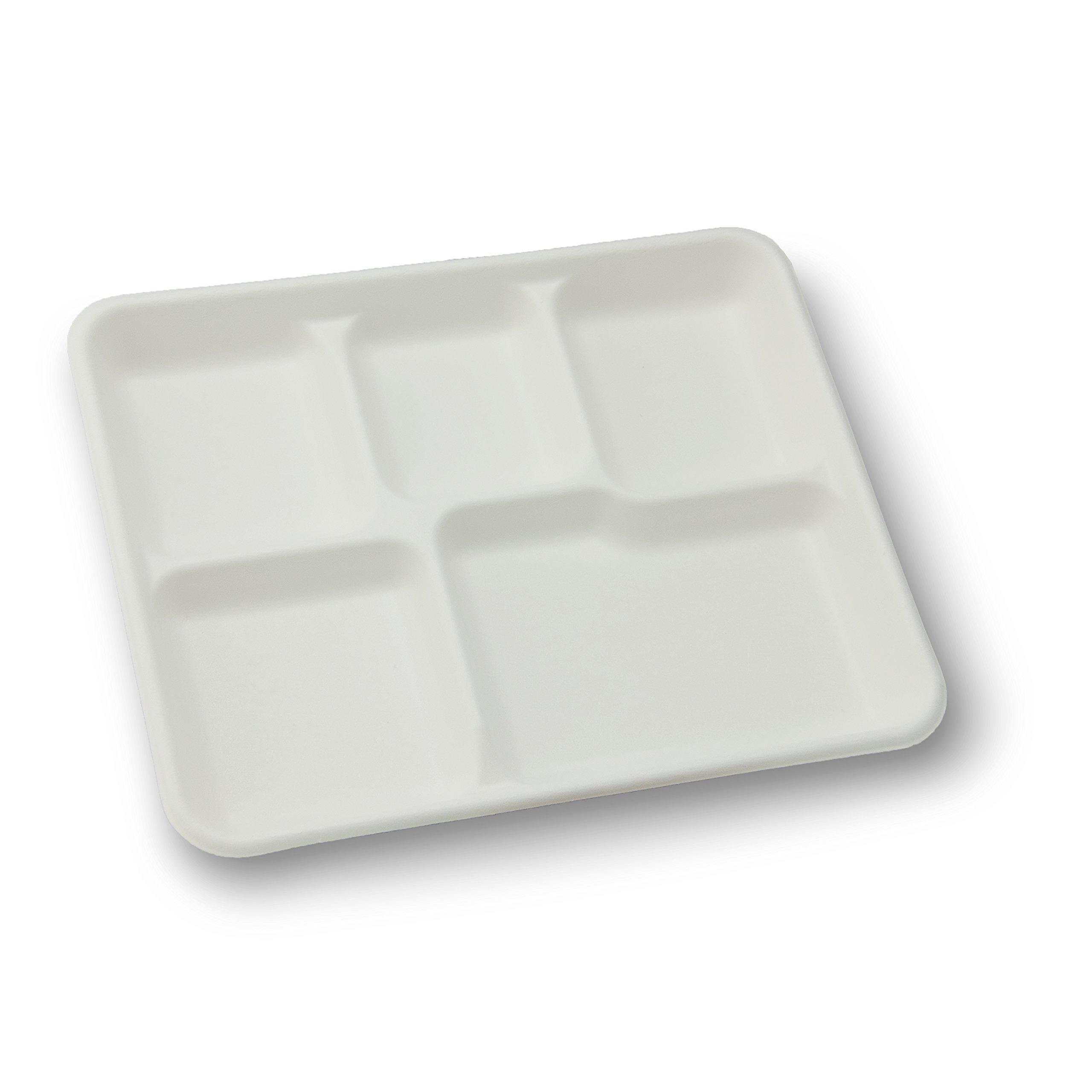 Stalkmarket 100% Compostable Sugar Cane Fiber Heavy Duty Plate, 5-Compartment American Tray, 500-Count Case