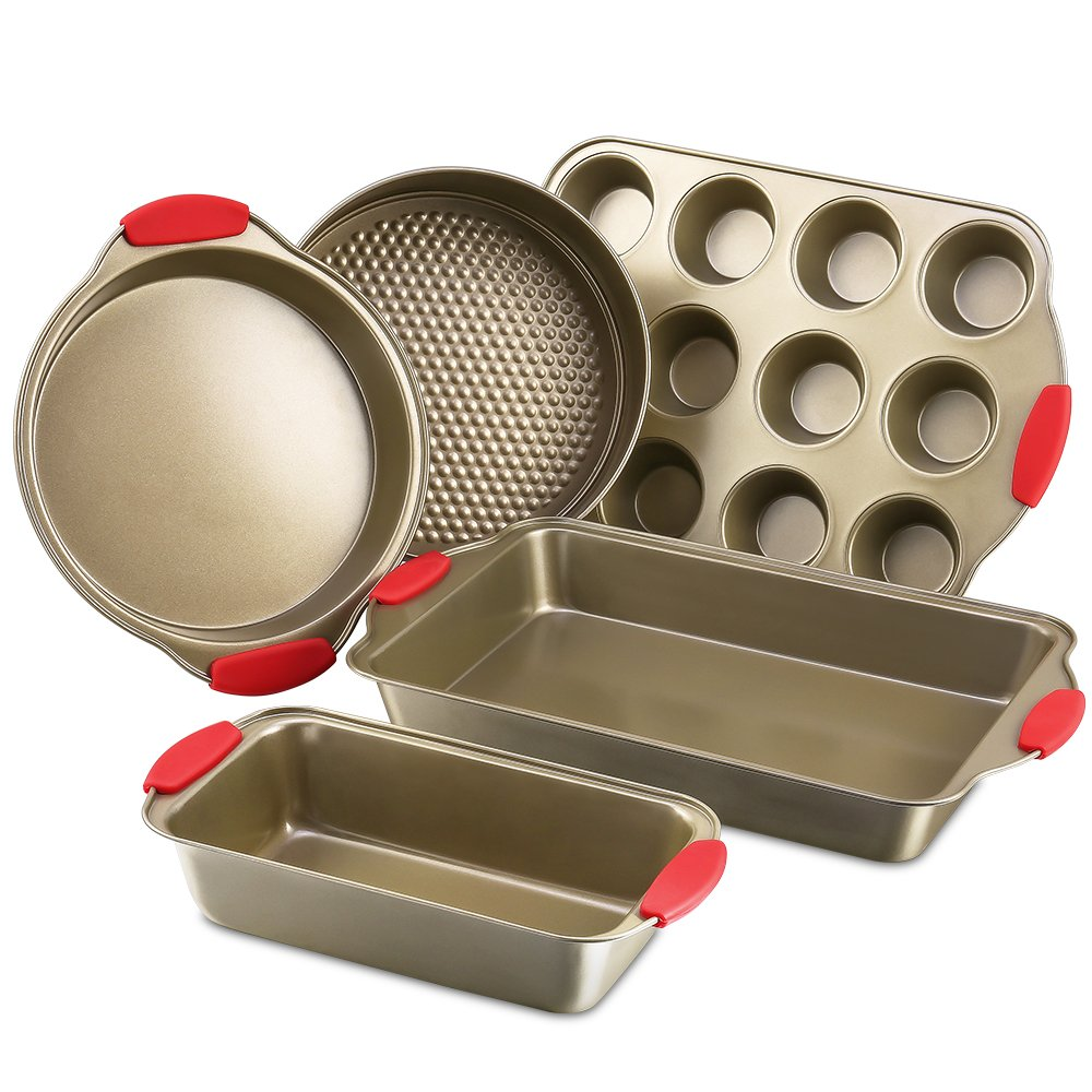Bakeware Nonstick Baking Pans Set of 5 by Kitchen Komforts. Includes Baking Pan, Loaf Pan, Springform Cake Pan, Muffin Pan, Pizza Pan, with Red Silicone Handle Grips by Kitchen Komforts